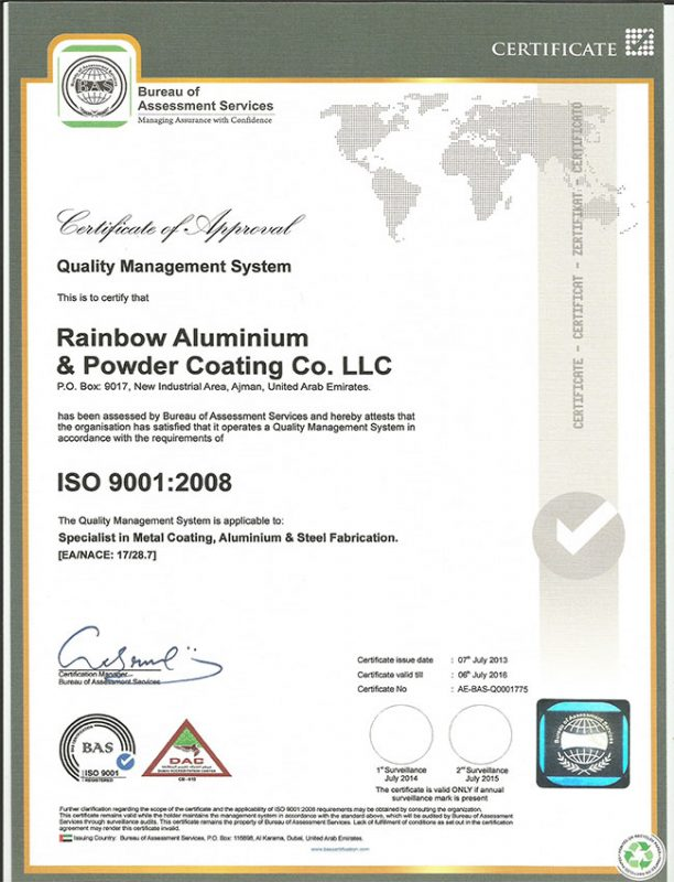 Certifications Rainbow Powder Coating